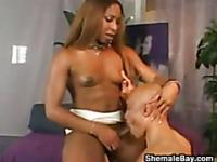 Ebony Shemale Enjoying A Black Cock