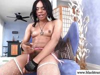 Sexy black solo amateur shemale masturbating
