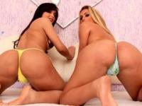 Bootylicious tgirls Juliana Souza and Bruna Butterfly screws their tight asses