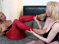 Amazing blonde lesbos showing their passion to foot fetish