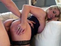 Blonde gets a prick from behind and then she rides it
