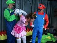Mario and Luigi perforating princess Peach in this porn video
