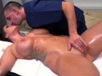 Brunette chick with huge tits relieving stress with masseur
