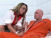 Mature blonde doctor with huge melons treating an inmate