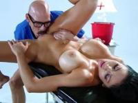 Gorgeous brunette lassie with huge melons fucked by masseur