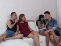 Wild group sex-action with four beautiful friends having fun
