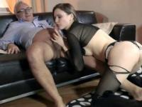beautiful dark-haired slut wearing sexy lingerie pleasing an old man