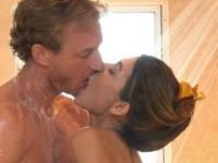 Man taking a hot shower with a mesmerizing wench