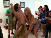 Horny lesbo gals got naughty at a college party