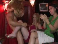 Oiled up stripper in bear costume held a contest between girls