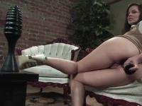 Solo girl video: imp shoves a huge dildo in her asshole