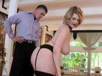 Blonde MILF with giant tits fingered by the servant