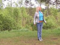 Solo girl video: beautiful jilt erotically jumps in the forest