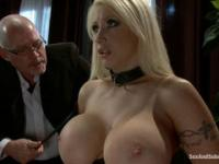 Boss ties up his big-breasted secretary and gives her the dick