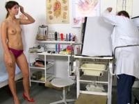 Naughty gyno gives his patient various sex toys to play with