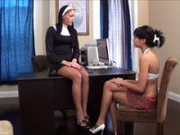 The beautiful nun and her sexy girlfriend caress each other's feet