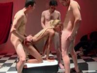 Excellent quartet: three excited guys and a beautiful blonde