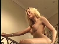 Blond with fine butt exposes her cum-hole on stairs to old guy