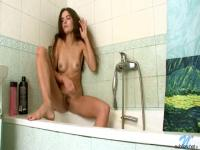 Slender Dark Brown Fingers her hirsute snatch
