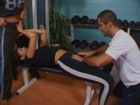 Anal sex & double penetration in a gym with last footjob & ball cream on her feet
