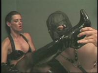Boy-Friend in mask engulfing on his Femdom-Goddess' boots