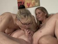 Older guy enjoys a threesome with two mature blondes