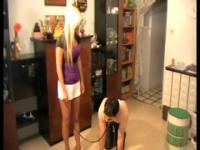 Australian mistress teaching her submissive slave