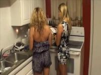 Blond double footjob