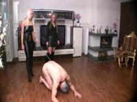 Blond German Mistresses Whip Serf Naive