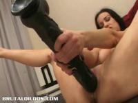 Dark Brown cumming all over a giant brutal sex tool