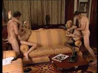 Two Slutty MILFs enjoying a foursome fucking experience