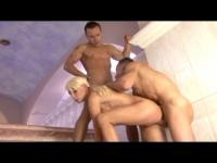 Hot blonde fucked two bisex guys
