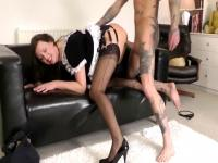 Bewitching aged maid receives screwed