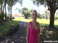 Cute amateur blonde Anamarie gets pulled over in the park