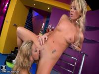 Glamorous blondes playing Cindy Hope and Natalia Forrest with their wet chinks near the bar