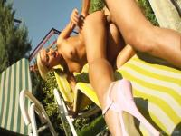 Blonde Candy gets fucked rough in backyard