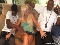 Busty blonde Jenna Lovely teases two black bulls