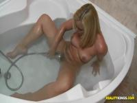 Hot blowjob in the bathroom with Kathia Nobili and Nick Lang
