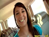Good girl steps inside the bang bus and frolics