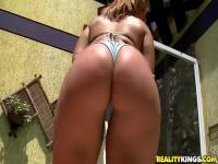 Beautiful blonde Gabi and her big oiled ass