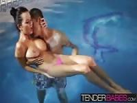 Mia Manarote getting drilled in the pool