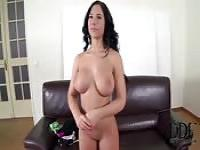 Busty brunette goes for a casting