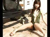 Skinny Japanese chicks showing off in a swimsuit