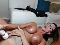 Horny milf with huge fake ones
