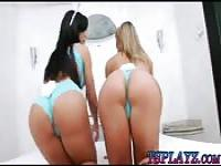 Two busty shemales hot threesome action