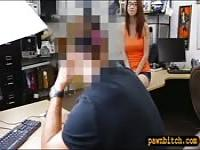 Slut in glasses drilled at the pawnshop
