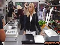 Hot blonde MILF banged by nasty pawn guy