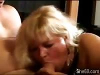 Fat blonde granny devours a big old cock