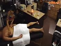 Asian pawns her massage table and fucked
