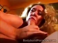 Mature blonde with stunning body pumped
